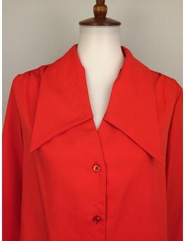 70er Jahre Mod Bluse Rot Disco Shirt Hippie Go Go Groovy Pointed Kragen Bluse 70er Jahre Kleidung Frauen Langarm Button Up 70er Jahre Vintage Frauen Kleidung by Etsy