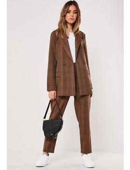 Brown Co Ord Check Print Blazer by Missguided