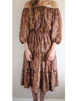 Vintage 70er Jahre Paisley Boho Kleid, Off The Shoulder Hippie Indian Kleid by Etsy