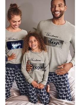 Grey/Navy Kids Matching Family Sequin Slogan Pyjamas (3 16yrs) by Next