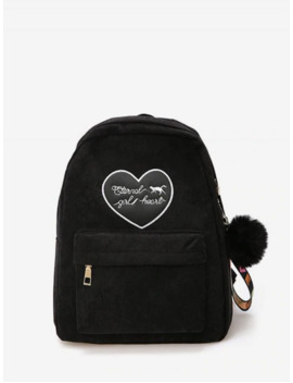 Heart Letter Fuzzy Ball Pendant Backpack   Black by Zaful