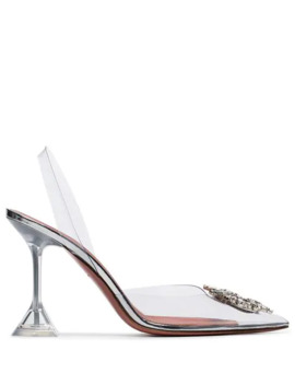 Transparent And Silver Tone Begum 95 Pvc Slingback Pumps by Amina Muaddi