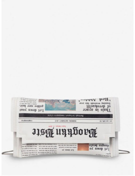 Hot Small Newspaper Pattern Shoulder Bag   White by Zaful