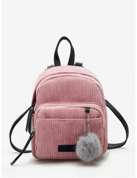 Hot Canvas Fuzzy Ball Small Backpack   Pink by Zaful