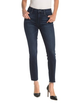 High Waist Looker Frayed Ankle Jeans by Mother