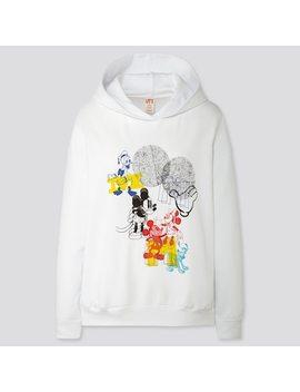 Women Mickey Art Kate Gibb Long Sleeve Hooded Sweatshirt by Uniqlo