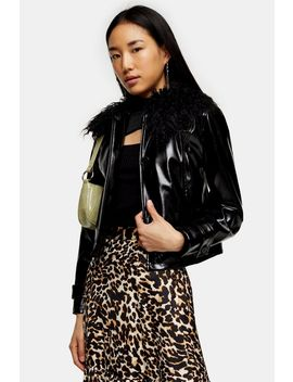 Black Faux Fur Collar Pu Coat by Topshop