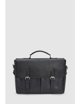 Signature Leather Twin Pocket Briefcase by Next