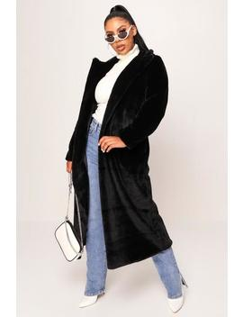 Black Long Faux Fur Coat by I Saw It First