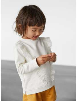 Sweatshirt With Embroidered Ruffle Trim by Zara