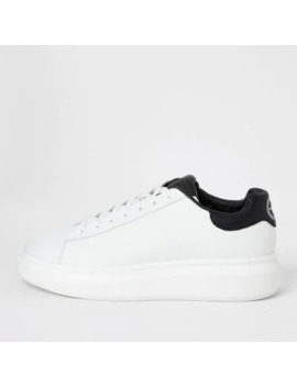 White Chunky Sole Lace Up Trainers by River Island