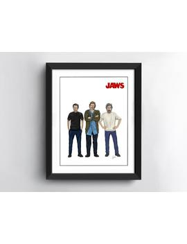 Jaws Art Print | Quint | Brody | Hooper | 10 X 8 Inch Size | Hand Drawn Illustration by Etsy