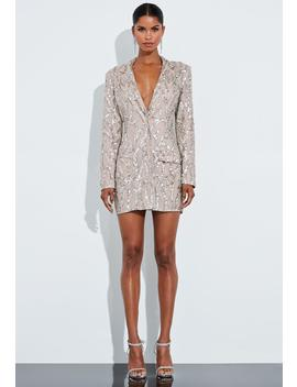 Peace + Love Gold Embellished Blazer Dress by Missguided