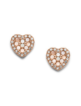 Mosaic Heart Rose Gold Tone Stainless Steel Earrings by Fossil