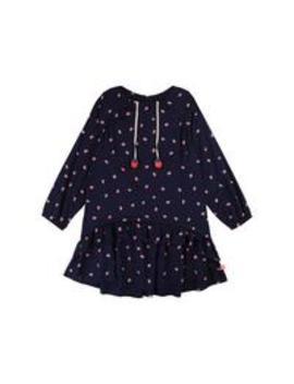Girls Strawberry Print Drop Waist Dress   Navy by Billieblush