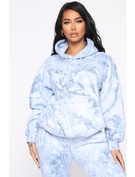 Stole Your Boyfriend's Marble Oversized Hoodie   Blue Marble by Fashion Nova