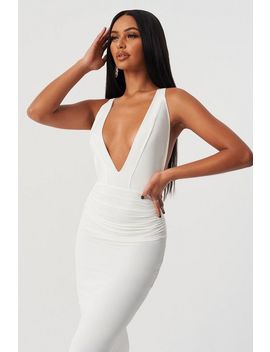 **White Strappy Maxi Dress By Club L by Topshop