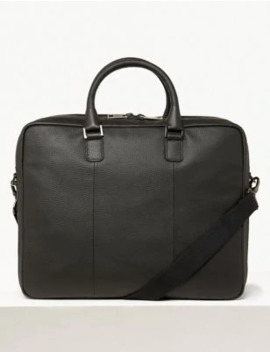 Leather Double Briefcase by Marks & Spencer
