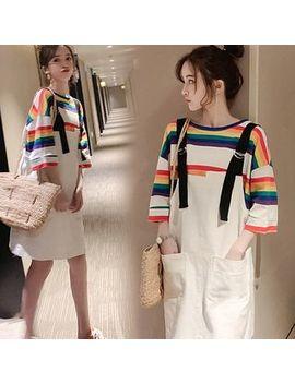 Deverra   Maternity Set: Elbow Sleeve Striped T Shirt + Jumper Dress by Deverra