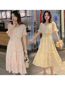 Ez Life   Maternity Bell Sleeve Printed Midi Chiffon Dress by Ez Life