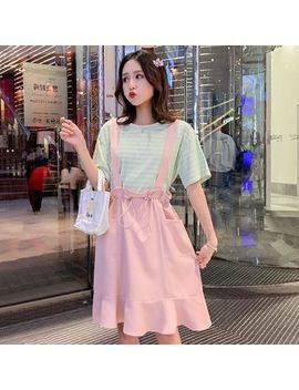 Ez Life   Maternity Set: Short Sleeve Striped T Shirt + Suspender Skirt by Ez Life