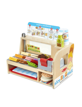 Melissa & Doug Wooden Slice & Stack Sandwich Counter With Deli Slicer – 56 Piece Pretend Play Food Pieces by Melissa & Doug