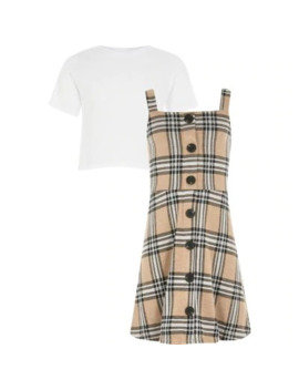 Girls Beige Check Pinafore Dress Outfit by River Island
