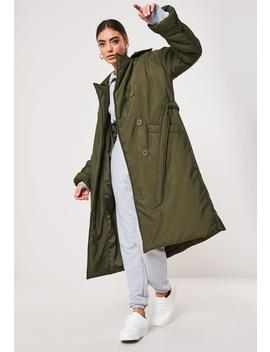 Khaki Padded Trench Coat by Missguided