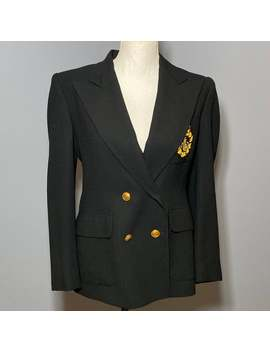 Vintage Lauren Ralph Lauren Black Crest Crested Blazer Womens Size 6 P Petite, Military Blazer Jacket, Equestrian Blazer Jacket, Jacket by Etsy