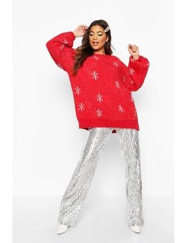 Oversized Tinsel Snowflake Fluffy Christmas Jumper by Boohoo