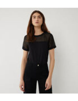 Sheer Sleeve Woven Mix Tee by Warehouse