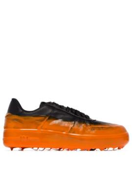 Orange Og Sorte Low Top Sneakers Med Dyppet Effekt by 424