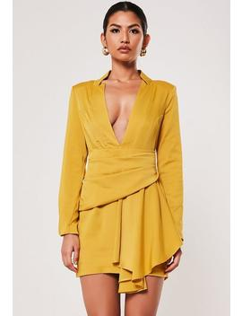 Peace + Love Mustard Drape Pleated Satin Blazer Dress by Missguided