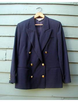 Vintage Austin Reed Petite Wool Blazer Navy Blue Preppy Classic Double Breasted Jacket by Etsy