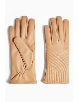 Sand Leather Touchscreen Gloves by Topshop