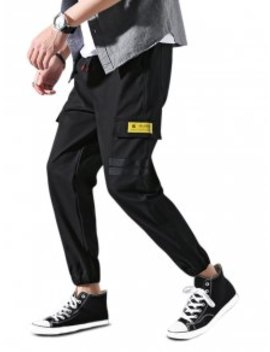 En Vogue Promos Pantalon De Jogging Rayé Avec Poche à Rabat à Cordon   Noir M by Zaful