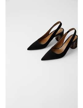 Pantofi Cu BaretĂ La Spate Şi Toc Cu Efect Baga by Zara