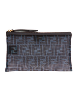 Blue Medium Mesh 'forever Fendi' Pouch by Fendi