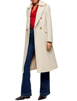 Freddie Herringbone Coat by Topshop