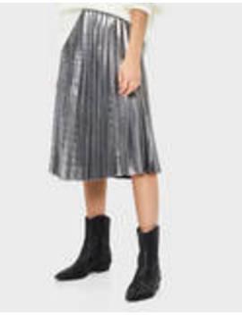 Pleated Metallic Skirt by Bershka