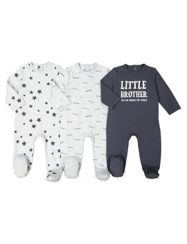 Pack Of 3 Cotton Sleepsuits, Birth 3 Years by La Redoute Collections