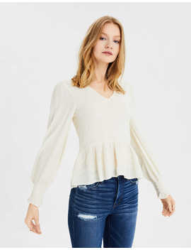 Ae Long Sleeve Smocked Babydoll Top by American Eagle Outfitters
