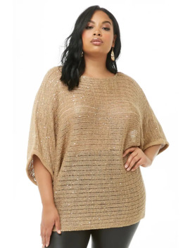 Plus Size Sequin Knit Dolman Sweater by Forever 21