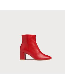 Jette Red Leather Ankle Boots by L.K.Bennett