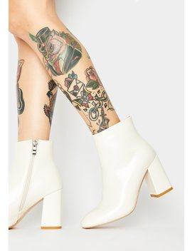 Off White Aimee Patent Ankle Boots by Public Desire