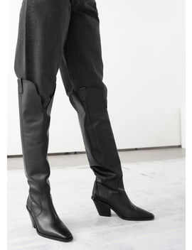 Knee High Leather Cowboy Boots by & Other Stories