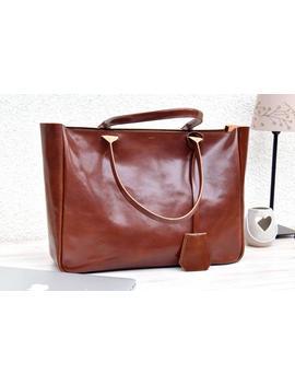 Brown Leather Tote   Bella Volume   Cognac Brown Leather Tote   Leather Laptop Bag   Tote Bag With Pockets   Brown Tote Bag   Shoulder Bag by Etsy