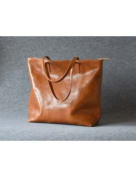 Natural Leather Bag, Camel Tote With Zipper, Handmade Brown Leather Bag, Tote Bag With Pockets, Large Leather Bag, Everyday Leather Bag by Etsy