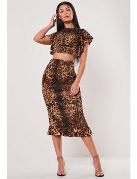 Brown Co Ord Leopard Print Shirred Midaxi Skirt by Missguided