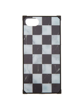 Chequered Marble Square Phone Case   Fits I Phone 6/7/8 by Claire's
